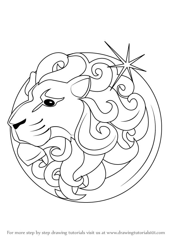 598x845 Learn How To Draw Leo Zodiac Sign (Zodiac Signs) Step By Step