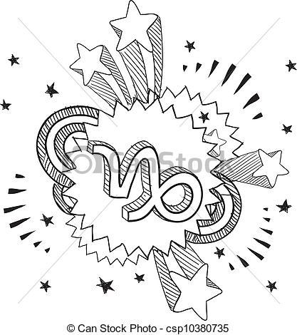 417x470 Pop Capricorn Astrology Symbol. Doodle Style Zodiac Vectors