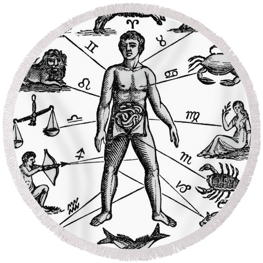 850x850 Zodiac Man Drawing Relating Astrology Round Beach Towel For Sale