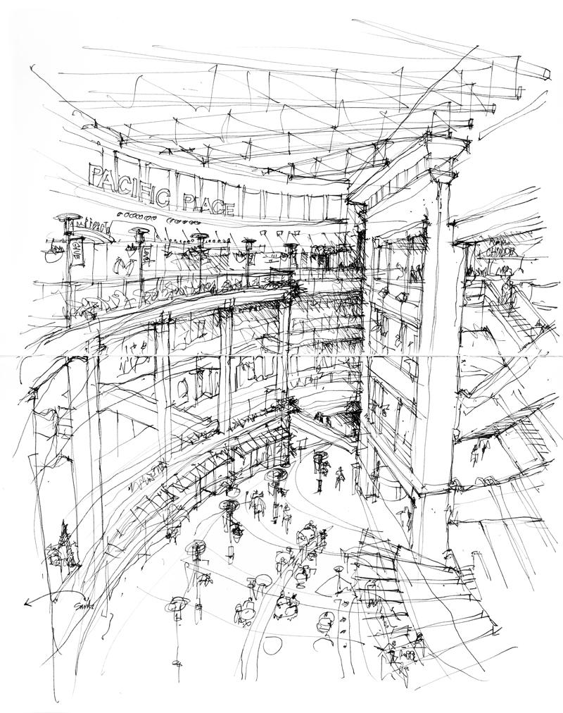 800x1012 Pacific Place Looking Up, Looking Down Seeing.thinking.drawing