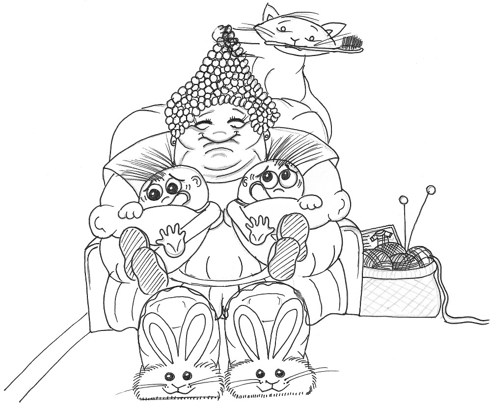 1000x837 Great Aunt Matilda And The Tearaway Twins Pen Drawing