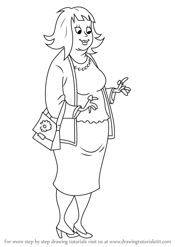 598x844 Learn How To Draw Rich Aunt Ruby From Horrid Henry (Horrid Henry