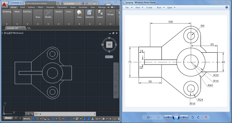1365x729 2d Autocad Practice Drawing