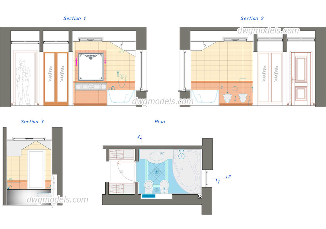 Autocad Toilet Elevation Drawing At Getdrawings Com Free