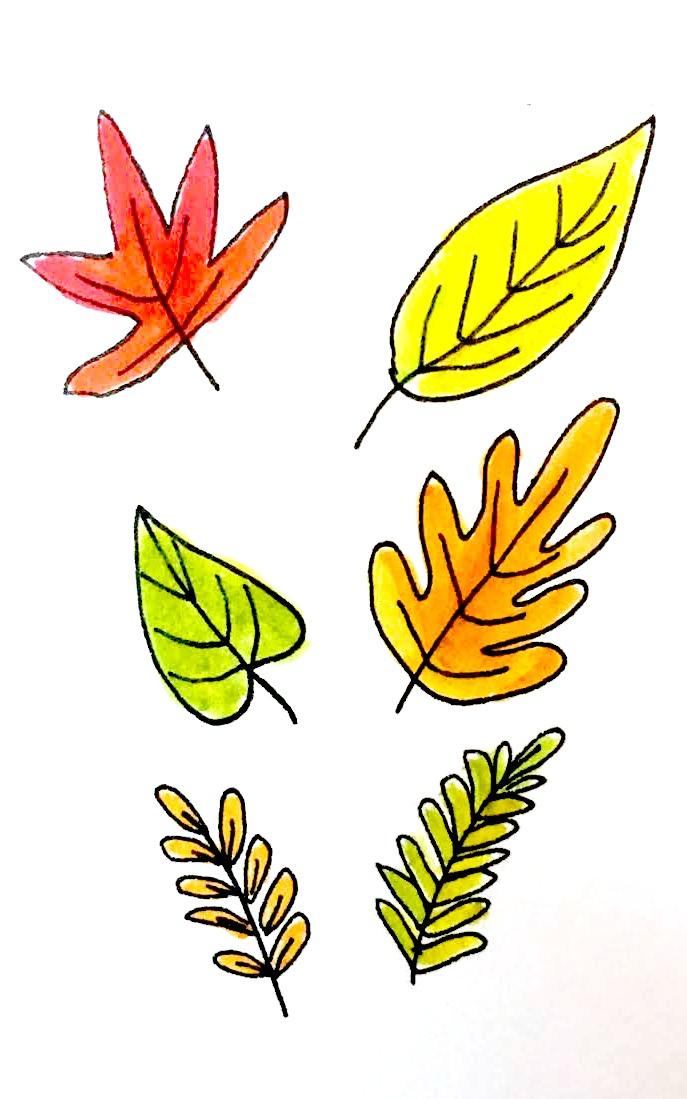 687x1099 7 Ways To Draw Fall Leaves Dawn Nicole
