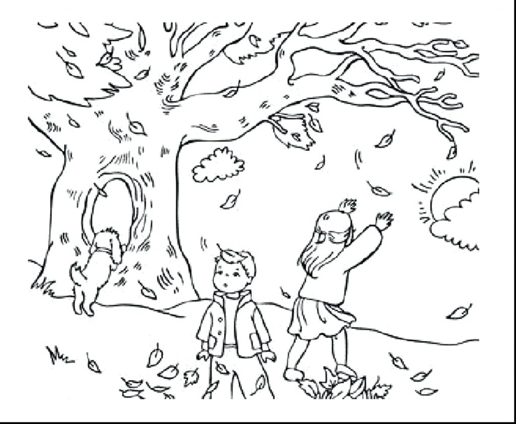 1024x841 Coloring Pages ~ Free Fall Coloring Pages Kicking Autumn Leaves