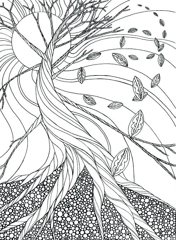 570x776 Coloring Pages Autumn Leaves Dead Tree Adult Page Gift Wall Art