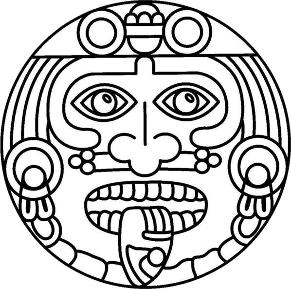 598x593 Aztec Pattern Coloring Pages Inspirational Aztec Calender Drawing