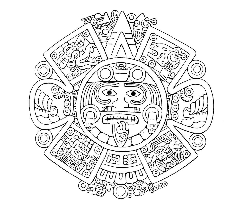 1024x844 Collection Of Aztec Calendar Easy Drawing High Quality, Free