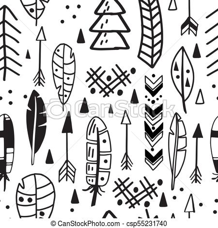 450x470 Vector Seamless Aztec Tribal Pattern With Feather And Eps