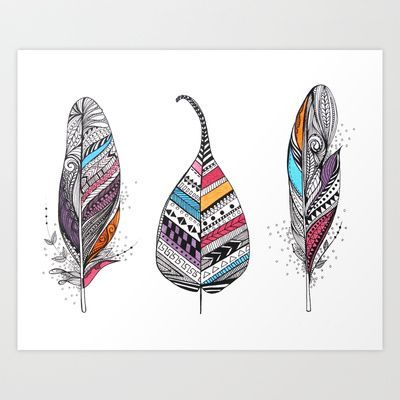 400x400 Feather With Aztec Print