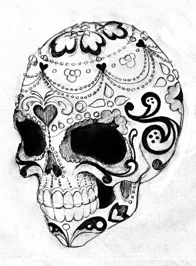 658x892 Collection Of Grey Ink Aztec Skull Face Tattoo Design