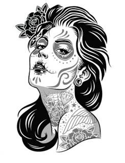 245x320 Drawn Sugar Skull Aztec