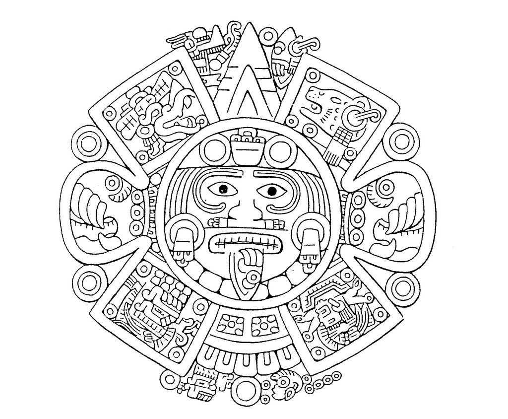 1024x844 Abstract Aztec Art Design Coloring Pages