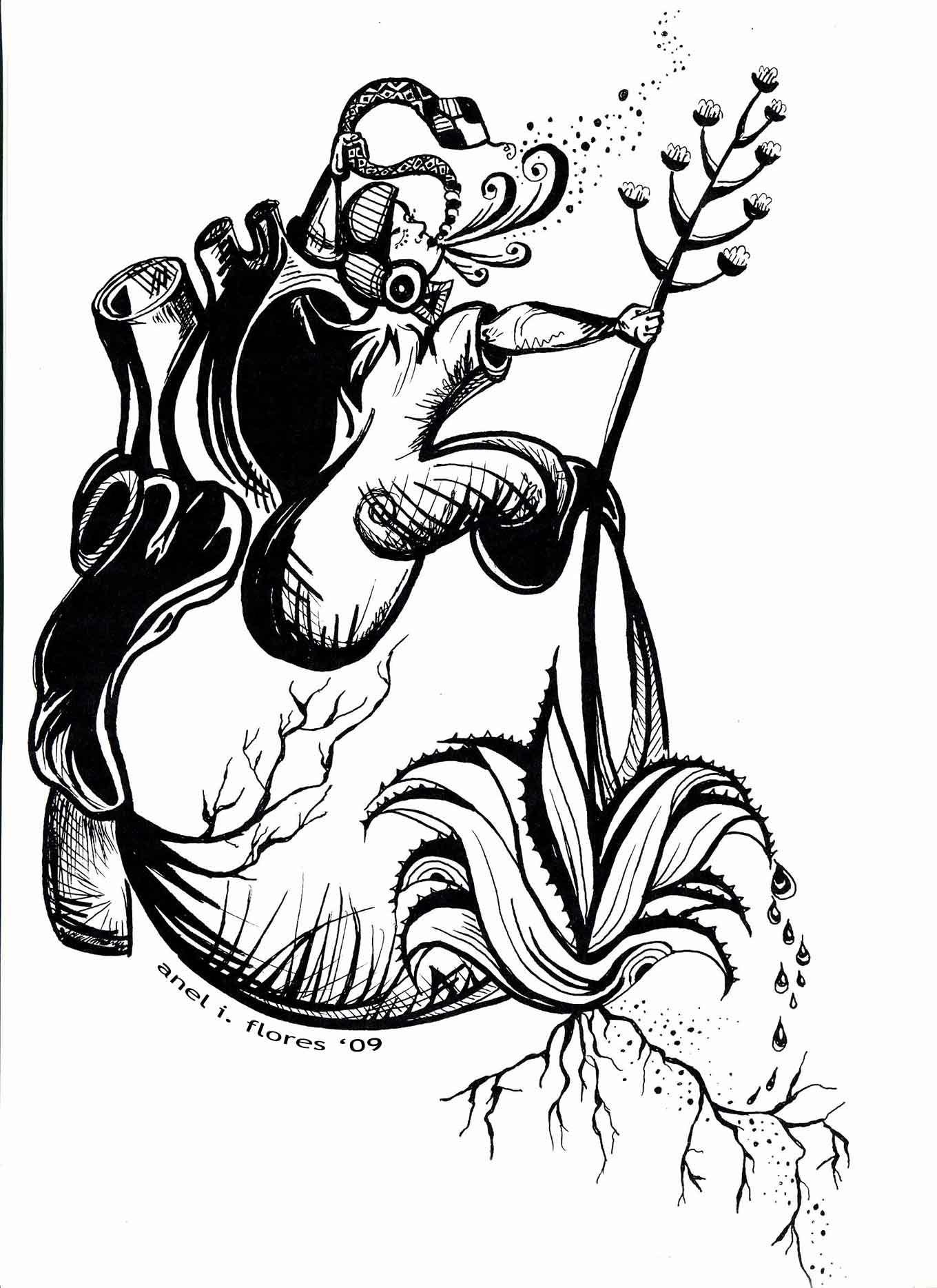 1360x1868 Aztec Corazon Woman Anel Flores 2009 Art