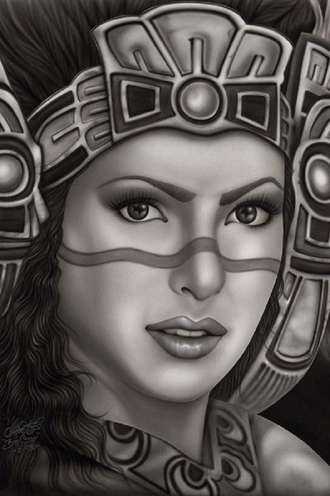 667x1001 Aztec Princess By Big Ceeze Mexican Tribal Headdress Woman Tattoo
