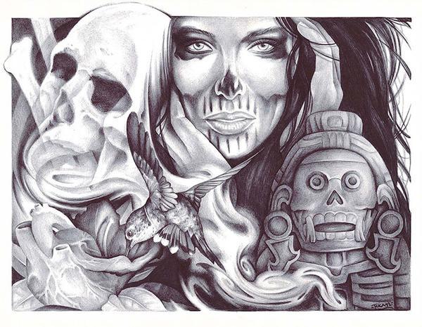 600x466 Tzitzimime By Spyder Undead Skull Woman Heart Aztec Canvas Art