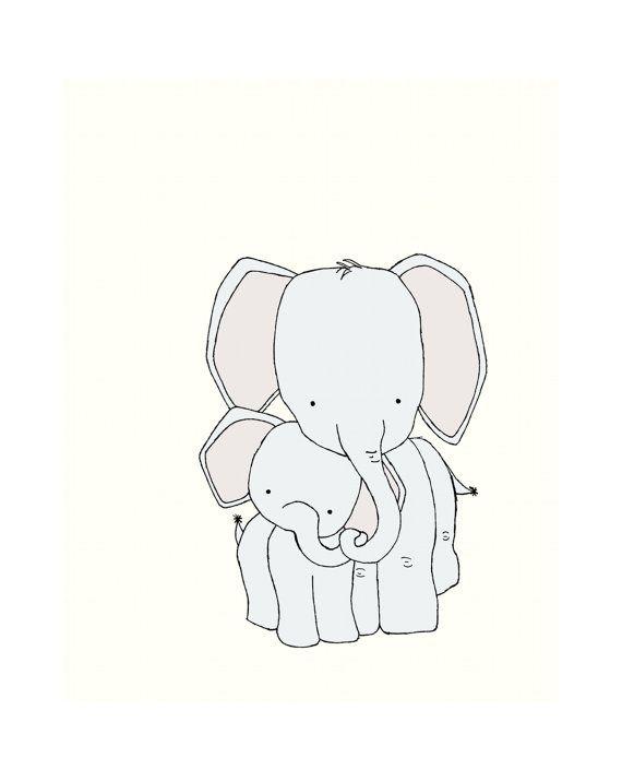 570x715 Elephant Nursery Art Print, Neutral Nursery Decor, 8x10 Elephant