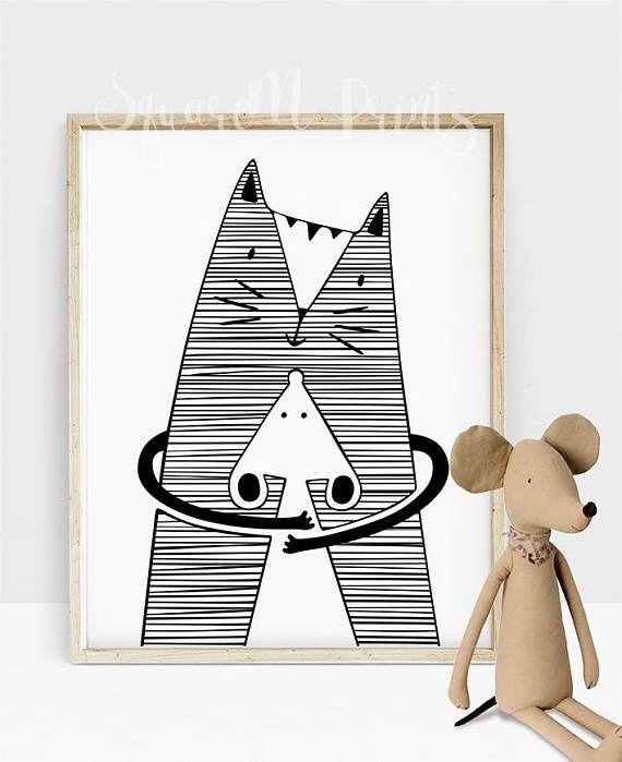 570x699 Hug Me Poster, Black And White Cat Decor, Cat Desk Accessories