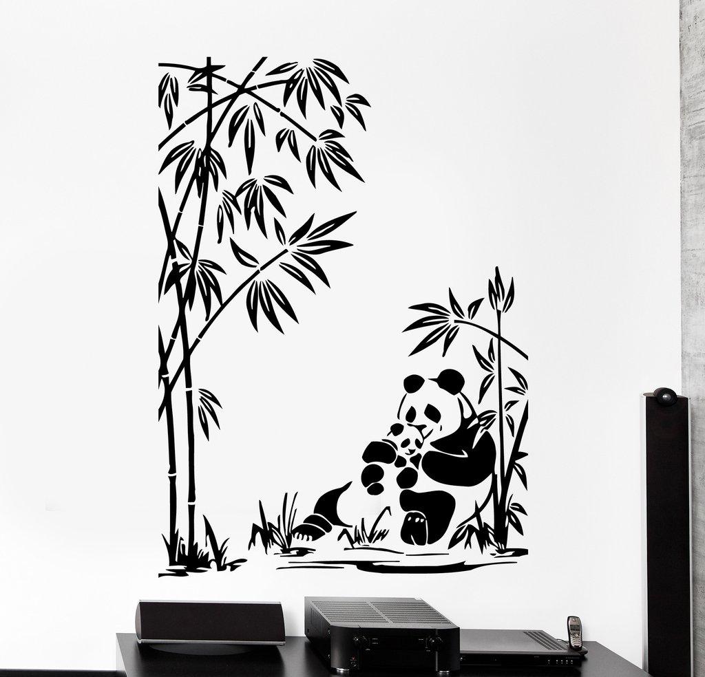 1024x984 Wall Vinyl Decal Panda Family Baby Bamboo Jungle Home Interior