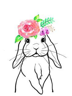 236x315 Bunny Drawing, Bunny Watercolor, Original Art, Nursery, Woodland