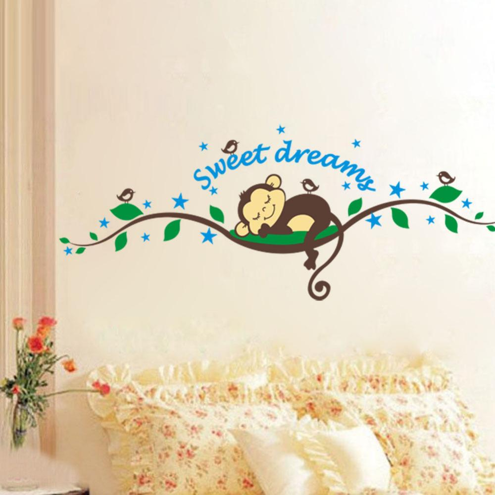 1000x1000 Sweet Dream Monkey Vine Wall Stickers Decals For Living Room