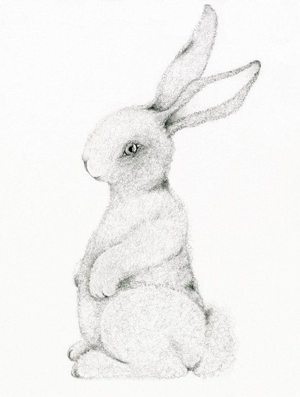 604x800 Bunny Rabbit Art Print Drawing Of A Bunny Rabbit Easter Decor