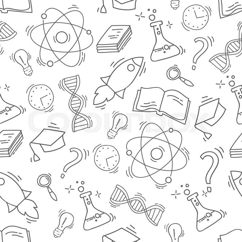 800x800 Hand Drawn Science Seamless Pattern. Chemistry Sketch Background