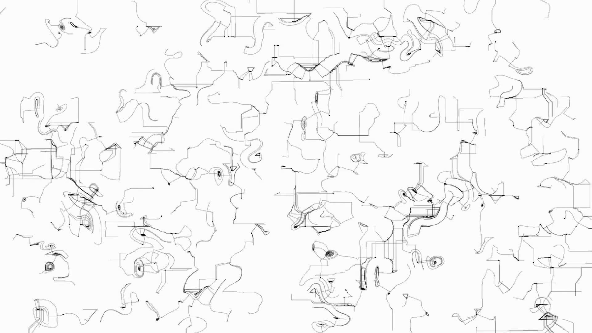 1920x1080 Hand Drawn Black Doodles On White Paper. Abstract Animated