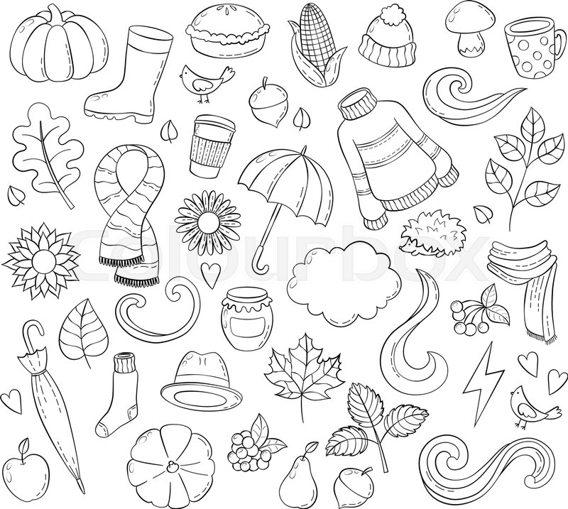 800x717 Set Autumn Hand Drawn Doodle Illustrations. Background, Template