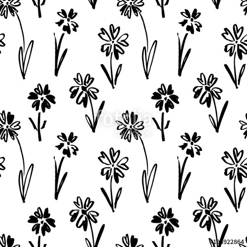 500x500 Vector Seamless Pattern Of Ink Drawing Wild Plants, Herbs