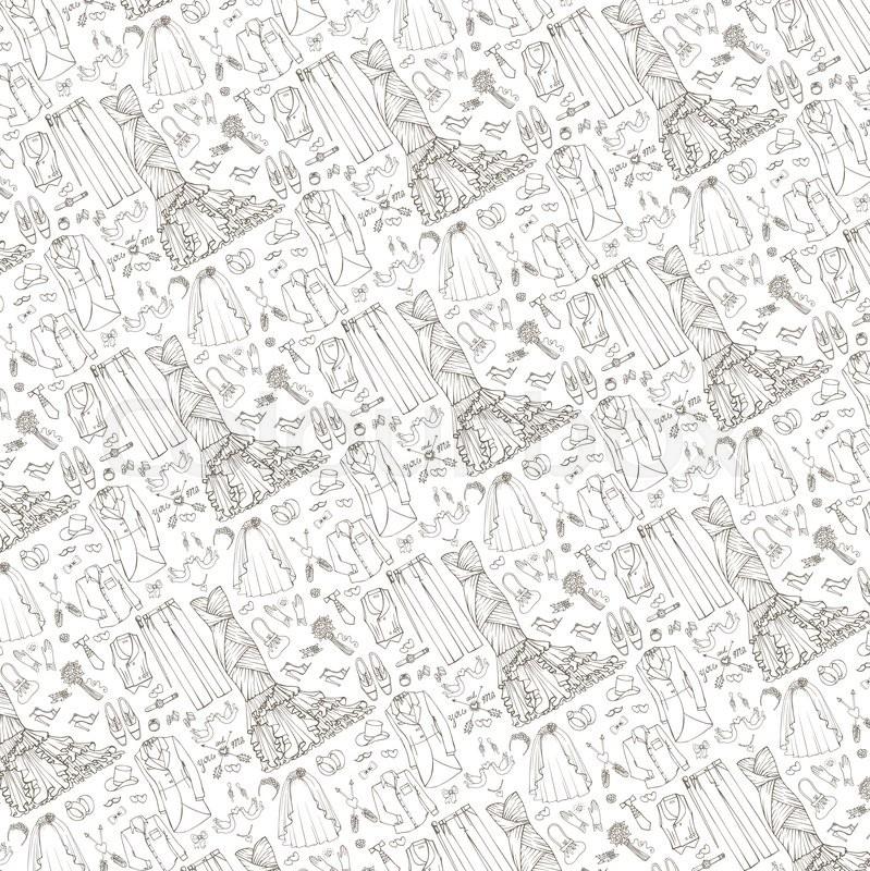 799x800 Wedding Fashion Dress Wear Pattern Background.doodle Bride Dress