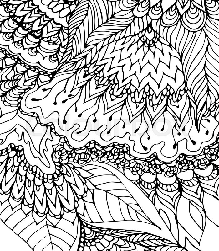 700x800 Black And White Template. Doodle Drawing. Hand Drawn Pattern