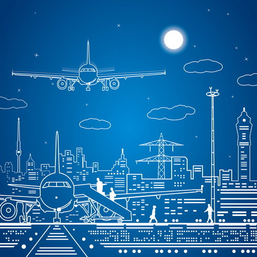 500x500 10x10ft Airport Plane Tower Sketch Line Drawing Blue Sky Moon