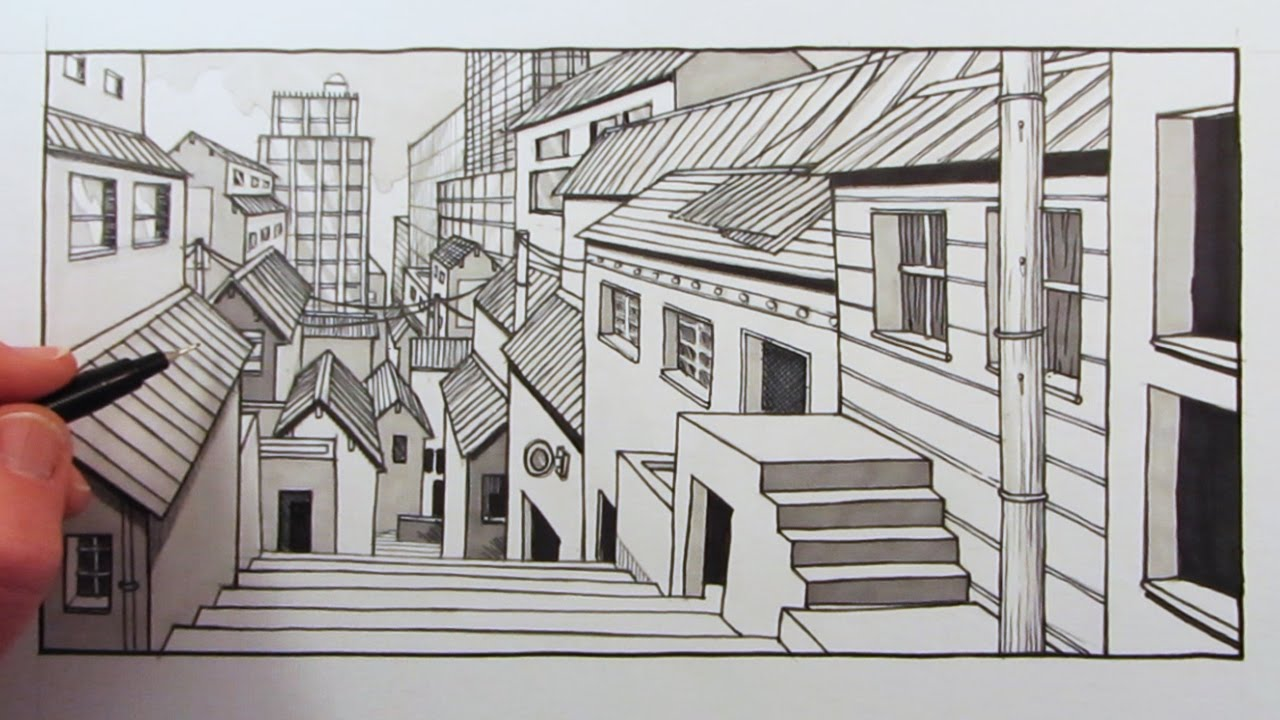 1280x720 How To Draw 1 Point Perspective City Background Fast