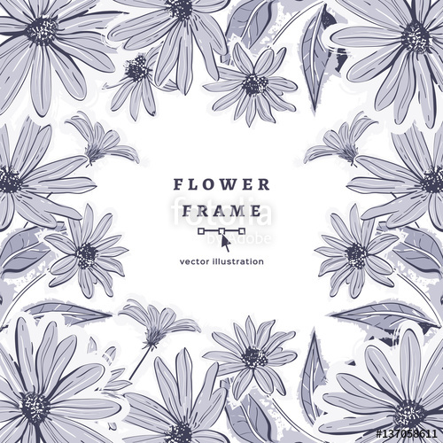500x500 Vector Flower Frame Drawing Floral Background, Hand Drawn
