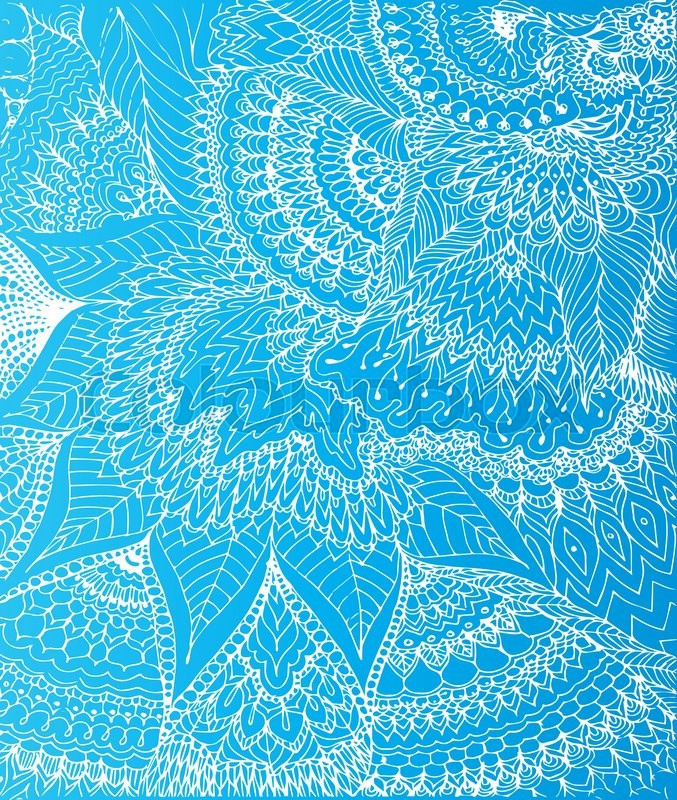 677x800 Vector Illustration Of Doodle Drawing On The Light Blue Background