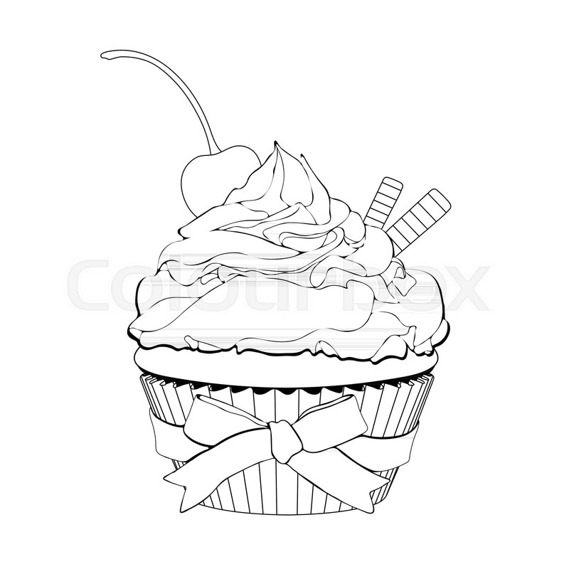 800x800 Cupcake With Cream, With A Cherry On Top And Waffles, Vector