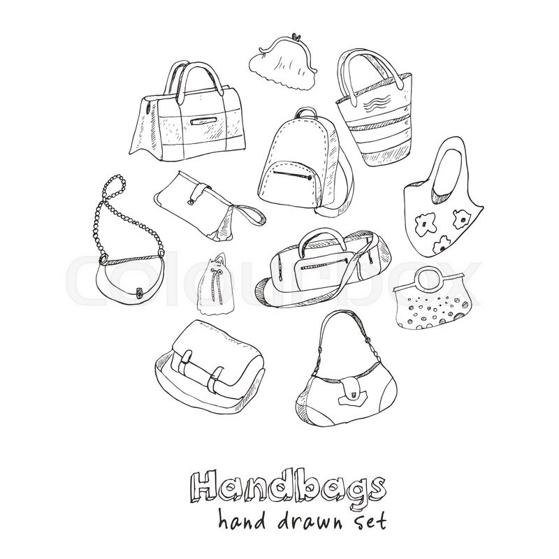 800x800 Hand Drawn Doodle Sketch Illustration Set Of Bags