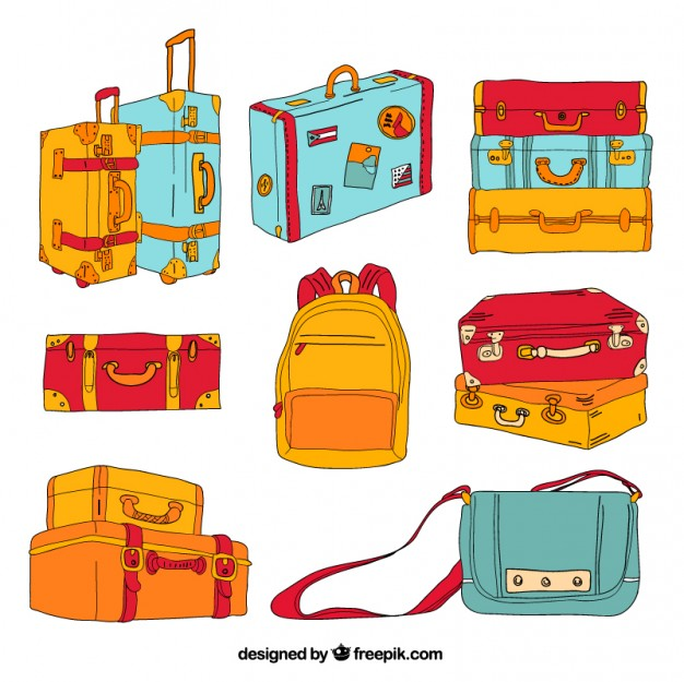 626x625 Hand Drawn Luggage Vector Free Download