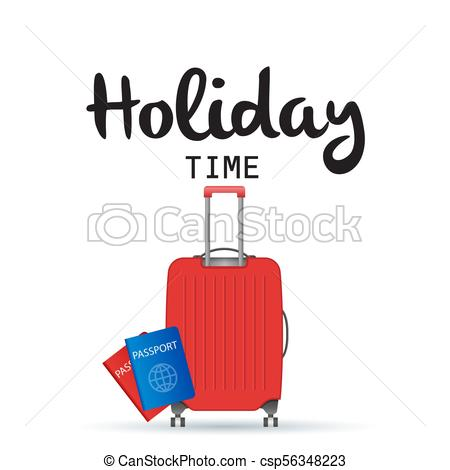 450x470 Holiday Time Baggage And Passport Background Vector Image Vector