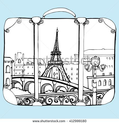 450x470 Travel Bag. Baggage. Suitcase. Line Art. Black And White Drawing