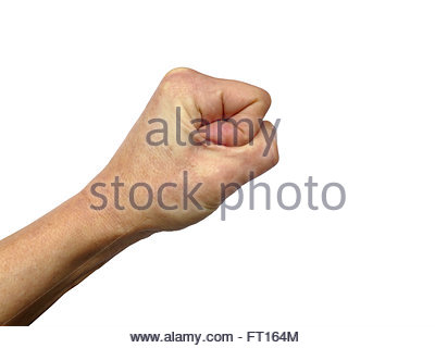 400x320 Closeup Of Right Male Hand Clenched Fist Isolated Over White Stock