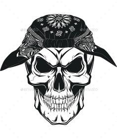 236x280 Illustration Of Skull In Bandana On Face. Monochrome Line Work