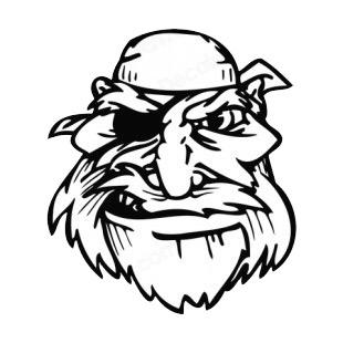 310x310 Pirate Face With Bandana And Long Beard Mascot Mascots Decals