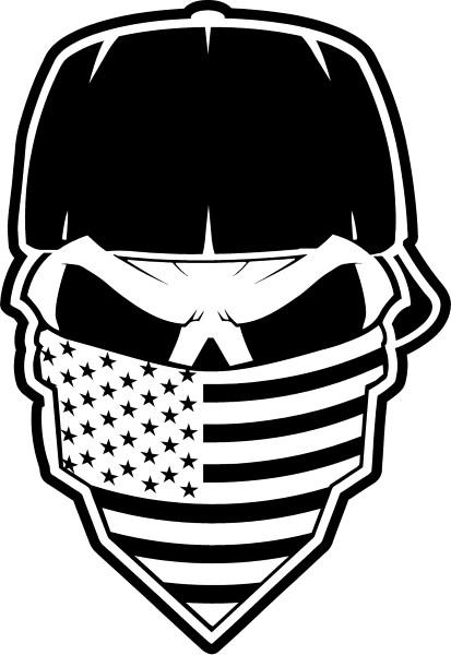 413x600 Skull American Flag Bandana Decal Sticker 37