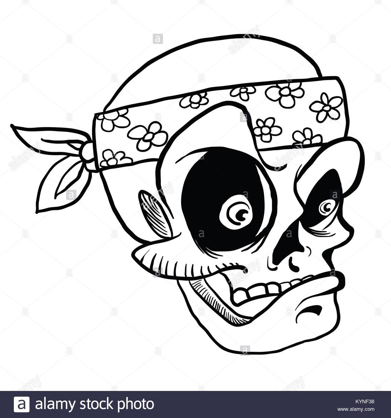 1300x1390 Skull Wearing Bandana Cartoon Illustration Isolated On White Stock