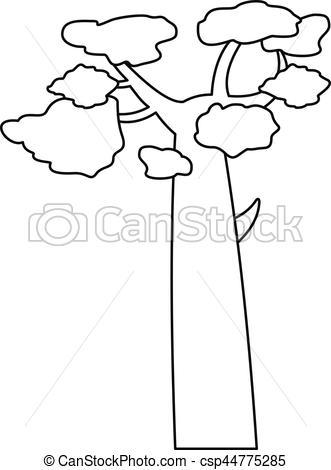 331x470 Baobab Icon, Outline Style. Baobab Icon. Outline Illustration
