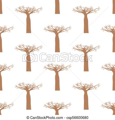 450x470 Baobab Tree Seamless Pattern On The White Background. Vector