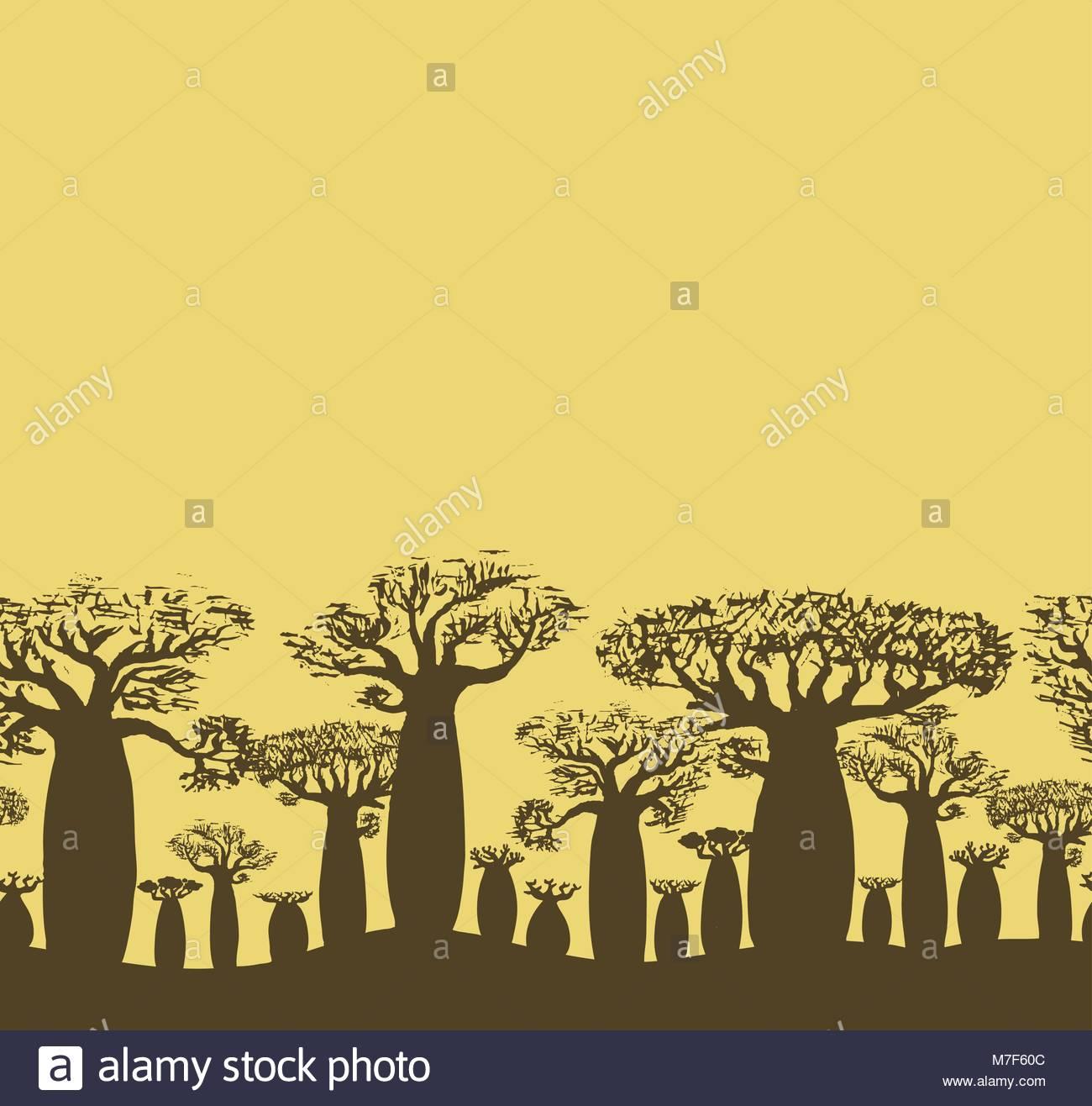 1300x1316 Vector Decorative Seamless Border Of Sketch Hand Drawing Baobab